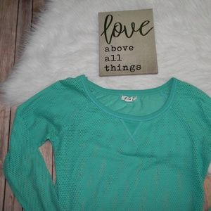 Aeropostale Green Mesh Long Sleeve Top